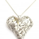 Patricia Gurgel Segrillo, Woven Series Silver and 18ct Gold Heart Pendant