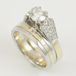 Bespoke Platinum and 18ct Yellow Gold Diamond Engagement and Wedding Ring, handcrafted by Tuula Harrington