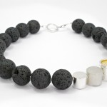 Paula O'Callaghan - Silver capsules, Lava and Fine Gold Leaf Necklace