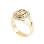 18ct Rose Gold set with Cognac and White Diamond Ring