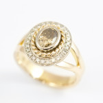 18ct Rose Gold set with Cognac and White Diamond Ring 2