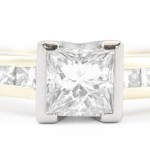 White and Yellow Gold Diamond channel set Engagement Ring