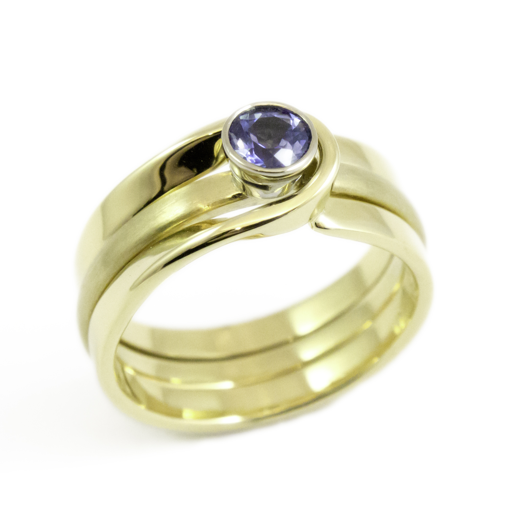 yellow gold and sapphire interlocking engagement and wedding ring - Interlocking Wedding Rings