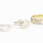 Yellow and Rose Gold Diamond Engagement and Weddding Rings